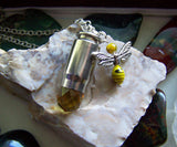 Gold Quartz Crystal Bee Bullet Jewelry Pendant