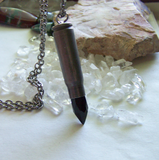 Black Obsidian Glass Bullet Jewelry Pendant Necklace