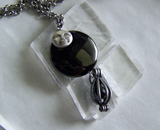 Black Jet Scrying Glass with Caged Nuummite Gemstone Pendant Necklace