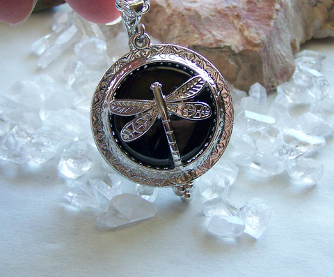 Black jet silver dragonfly scrying glass pendant my mystic gems black jet silver dragonfly scrying glass pendant aloadofball Image collections