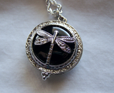Black Jet Silver Dragonfly Scrying Glass Pendant