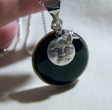 Black Onyx Scrying Glass with Man in the Moon Pendant