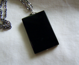 Polished Black Onyx Scrying Glass Silver Moon Pendant