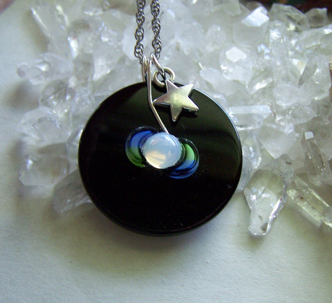 Triple Moon Opalite Black Onyx Disc Pendant Necklace