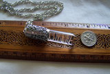 Blue Angel Feathers Quartz Crystal Filigree Bullet Jewelry Pendant
