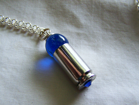 Cobalt Blue Orb Silver Bullet Jewelry Pendant