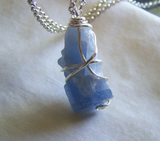 Sky Blue Calcite Wire Wrapped Crystal Pendant