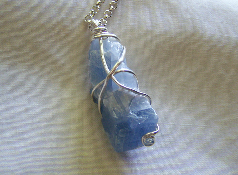 Sky blue calcite wire wrapped crystal pendant my mystic gems sky blue calcite wire wrapped crystal pendant aloadofball Gallery