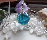 Natural Teal Blue Fluorite Crystal Ball Pendant Necklace