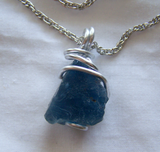 Large Natural Blue Fluorite Wire Wrapped Stone