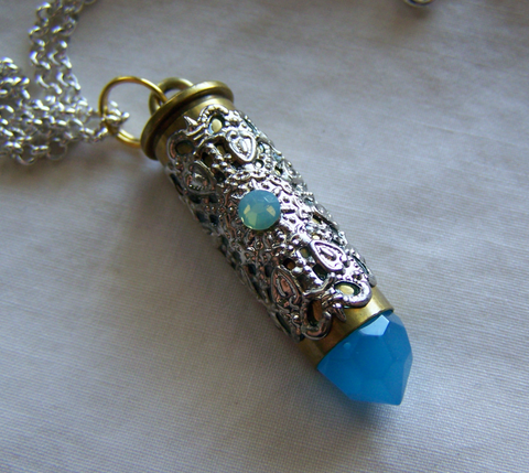 Aqua Blue Crystal Bullet Silver Filigree Pendant Necklace
