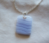 Sky Blue Lace Agate Polished Gemstone Pendant
