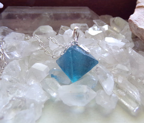 Beautiful Blue Fluorite Natural Octahedron Crystal Pendant Necklace