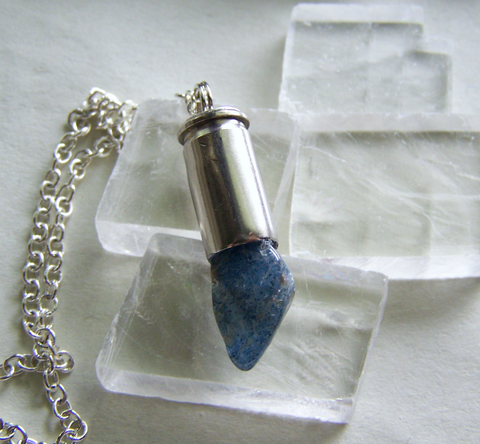 Natural Blue Quartz Silver Bullet Necklace