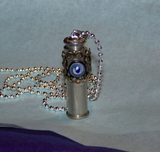 Blue Glass Filigree Keepsake Capsule Bullet Jewelry Pendant