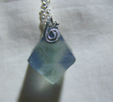 Blue Fluorite Crystal Octahedron Silver Necklace