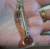 Crystal Ball Scepter Wand Pendant with Unicorn Horn