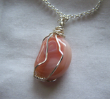 Pink Botswana Agate Polished Gemstone Wire Wrapped Pendant