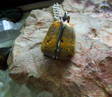 Bumblebee Jasper Wire Wrapped Natural Stone Pendant