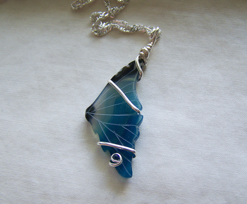 Blue Banded Agate Carved Butterfly Wing Pendant