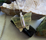 Natural Rainbow Fluorite Carved Butterfly Gemstone Wire Wrapped Pendant