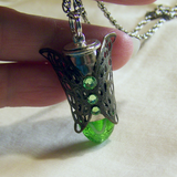 Spring Green Easter Egg Butterfly Filigree Bullet Pendant