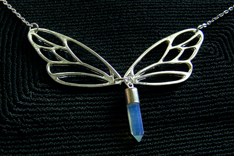 Silver Lace Wing Butterfly Opalite Crystal Necklace