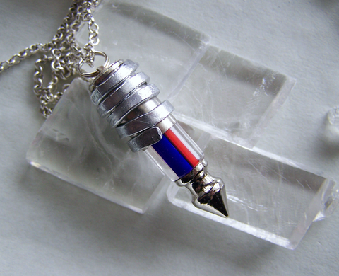 Red and Blue Cane Glass Bullet Spike Pendant Necklace