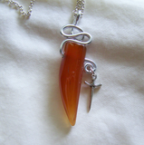 Orange Carnelian Wire Wrapped Silver Dagger Pendant