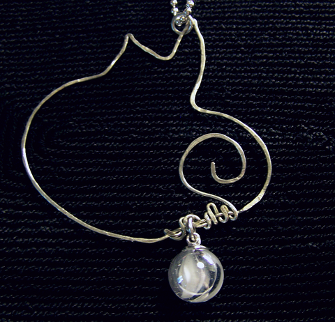 Silver Wire Abstract Cat Pendant