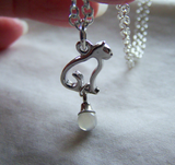 Silver Cat Moonstone Crystal Ball Pendant