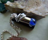 Blue Swirl Cat's Eye Marble Wire Wrapped Silver Bullet Necklace