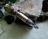 Celtic Knot Natural Quartz Crystal Silver Bullet Jewelry Pendant