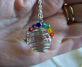 Quartz Crystal Ball with Chakra Rainbow Crystals Pendant