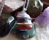 Rainbow Chakra Crystal Wire Wrapped Gemstone Pendant Necklace