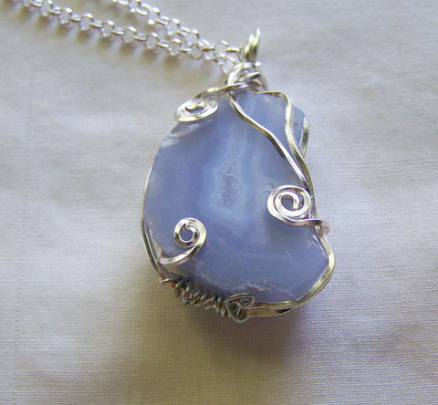 Natural Blue Chalcedony Wire Wrapped Gemstone Pendant