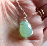 Aqua Chalcedony Gemstone Crystal Wire Wrapped Pendant Necklace