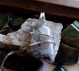 Natural Lace Agate Chalcedony Wire Wrapped Pendant Necklace