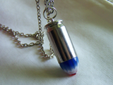 Red White and Blue Starburst Glass Bullet Jewelry Pendant