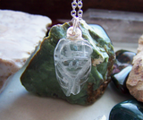 Natural Carved Quartz Crystal Cicada Pendant