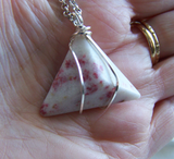 Cinnabrite Polished Gemstone Triangle Pyramid Necklace