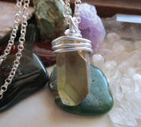 Natural Smoky Citrine Wire Wrapped Crystal Pendant Necklace