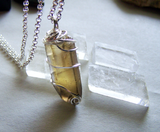 Natural Golden Citrine Wire Wrapped Pendant