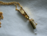 Quartz Crystal Gold Key Bullet Jewelry Necklace