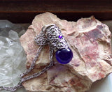 Cobalt Blue Marble Silver Filigree Bullet Jewelry Pendant Necklace