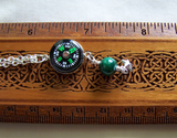 Steampunk Compass Malachite Bead Silver Star Pendant