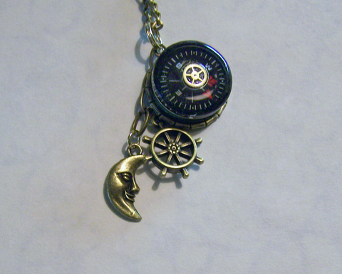 Nautical Brass Compass Pendant