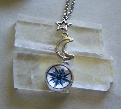 Vintage Compass Rose Glass Dome Moon and Star Pendant