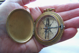 Antique Gold Large Ornate Brass Compass Pendant
