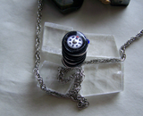 Leather Wrapped Silver Bullet Compass Pendant
